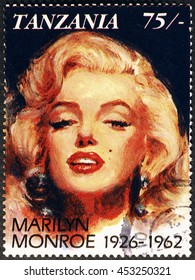 Milan, Italy - July 15, 2016: Marylin Monroe portrait on postage stamp of Tanzania