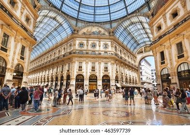 Milan, Italy - July 16, 2016: Galleria Vittorio Emanuele II is one of the most popular shopping areas in Milan.