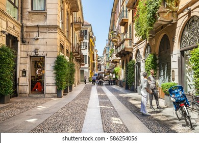 Milan, Italy - July 16, 2016: Street Fiori Oscuri with shops and boutiques in Milan. Italy