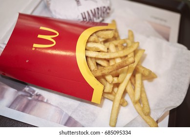 Milan, Italy - July 18, 2017 : McDonald's french fries