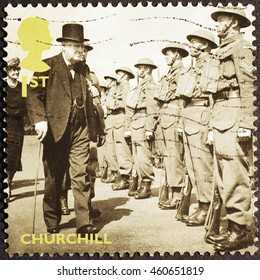 Milan, Italy - July 19, 2016: Prime Minister Winston Churchill on british postage stamp