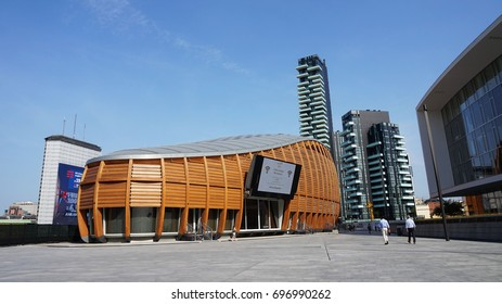 MILAN, ITALY - JULY 19, 2017 - View of the Unicredit Pavillion and Solaria Tower in Gae Aulentis Square, the buisness area, near Garibaldi train Station, Milan, Italy