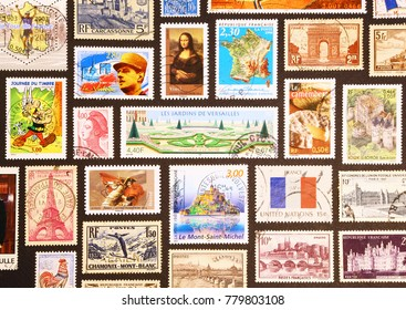 Milan, Italy - July 2, 2014: Symbols of France on its postage stamps