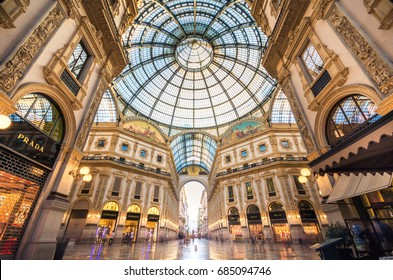MILAN, ITALY - July 2, 2017: Galleria Vittorio Emanuele II in Milano. It's one of the world's oldest shopping malls, designed and built by Giuseppe Mengoni between 1865 and 1877.