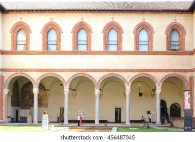 MILAN, ITALY - JULY 20, 2016 : Renaissance style architecture at piazza castello milano (Sforza Castle or castello sforzesco milan) interior. Roman style arches and columns