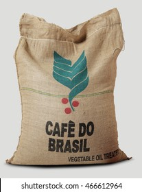 Milan - Italy, july 20 - 2016: Coffee Roasting Company, Jute sack filled with label Brazilian coffee