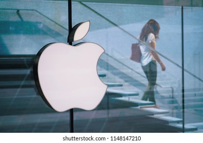 Milan, Italy - July 2018: Apple flagship store in piazza Liberty Milan