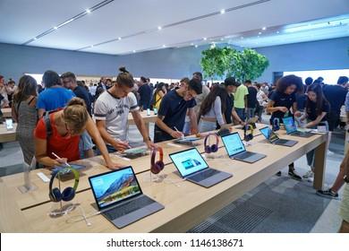 MIlan, Italy - July 2018: interior of flagship store Apple of Milan