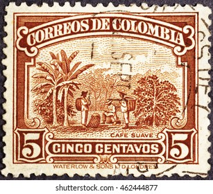 Milan, Italy - July 21, 2016: Coffee plantation on colombian postage stamp