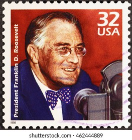 Milan, Italy - July 21, 2016: President Franklyn D.Roosevelt on american postage stamp