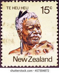Milan, Italy - July 22, 2016: Maori chief on New Zealand postage stamp