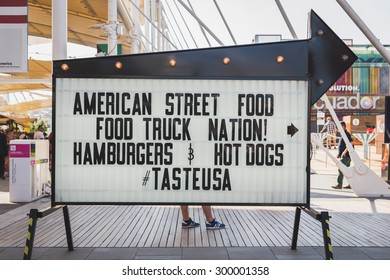 MILAN, ITALY - JULY 22: Street food sign outside USA pavilion at Expo, universal exposition on the theme of food on JULY 22, 2015 in Milan.