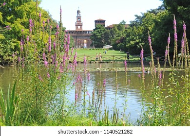 Milan, Italy - july 22,2018: Sforza Castle or Castello Sforzesco is a castle in Milan, northern Italy in Sempione park - tourist attraction
