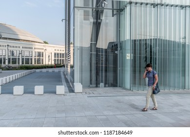 Milan, Italy - July 26, 2017: Milan Tre Torri area, a financial district in the city of Milan, with some of the highest Italian skyscrapers.