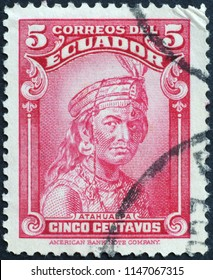 Milan, Italy - July 27, 2018:  Last Inca Emperor Atahualpa on stamp of Ecuador
