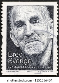 Milan, Italy - July 27, 2018: Film director Ingmar Bergman on swedish postage stamp
