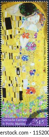 Milan, Italy - July 27, 2018: The Kiss by Gustav Klimt on postage stamp