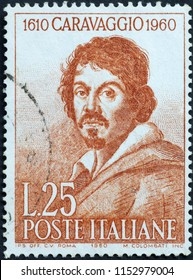 Milan, Italy - July 27, 2018: Portrait of Caravaggio on italian postage stamp