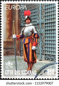Milan, Italy - July 27, 2018: Pontifical Swiss Guard with old uniform on stamp