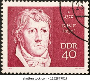 Milan, Italy - July 27, 2018: Philosopher Hegel on german postage stamp