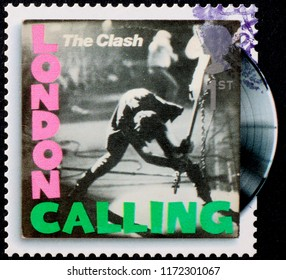 Milan, Italy – July 27, 2018: Cover of London calling by Clash on postage stamp