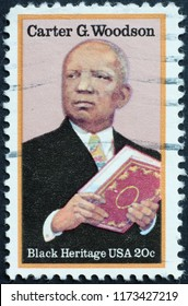 Milan, Italy – July 27, 2018: Black heritage, Carter G.Woodson on american stamp