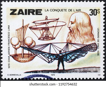 Milan, Italy – July 27, 2018: Flying machines projected by Leonardo on postage stamp