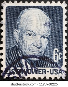 Milan, Italy – July 27, 2018: Dwight Eisenhower on vintage american postage stamp
