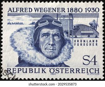 Milan, Italy - July 27, 2021: Alfred Wegener portrait on austrian postage stamp