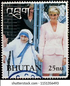 Milan, Italy - July 28, 2018: Lady Diana and mother Teresa on postage stamp