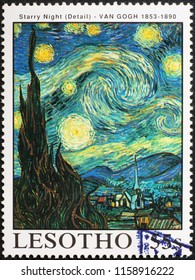 Milan, Italy - July 28, 2018: Detail from Starry Night by Van Gogh on stamp