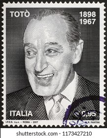 Milan, Italy – July 28, 2018: Portrait of italian actor Toto on postage stamp