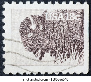 Milan, Italy – July 28, 2018: American bison on american postage stamp