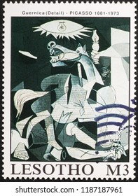 Milan, Italy – July 28, 2018: Detail from painting Guernica by Picasso on stamp