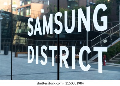 Milan, Italy - July 29, 2018: Samsung District sign outside the Diamond Tower (Italian Torre Diamante or colloquially Diamantone), a high-rise building in Milan business district