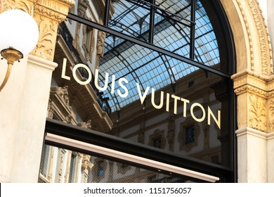 Milan, Italy - July 29, 2018: Louis Vuitton store. Shortened to LV, Louis Vuitton Malletier is a French fashion house and luxury retail company located in the Galleria Vittorio Emanuele II