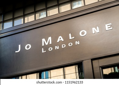 Milan, Italy - July 29, 2018: Jo Malone London store sign. Jo Malone London is a British perfume and scented candle brand, owned since 1999 by Estée Lauder