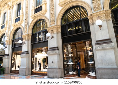 Milan, Italy - July 29, 2018: Prada store. Prada S.p.A. is an Italian luxury fashion house specializing in leather handbags, travel accessories, shoes, ready-to-wear, perfumes