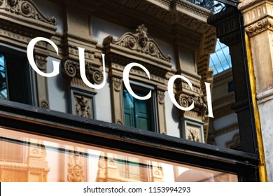 Milan, Italy - July 29, 2018: Gucci boutique. Gucci is an Italian luxury brand of fashion and leather goods, part of the Gucci Group, which is owned by the French holding company Kering