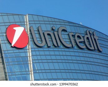 Milan, Italy - July 29, 2018: Unicredit Tower skyscraper located in Piazza Gae Aulenti, close to Garibaldi Railway Station and Corso Como