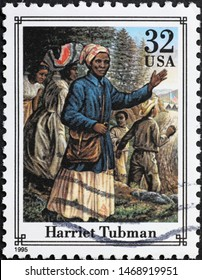 Milan, Italy – July 29, 2019: Harriet Tubman on american postage stamp