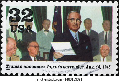 Milan, Italy – July 29, 2019: President Truman announces Japan's surrender on american stamp