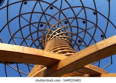 "Milan, Italy - July 3 2016: Milano Expo 2015: ""Albero della vita"" ""Tree of life"" installation from below in daylight"