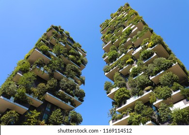 MILAN, ITALY - JULY 30, 2018: Modern and ecologic skyscrapers with many trees on every balcony. Bosco Verticale, Milan, Italy