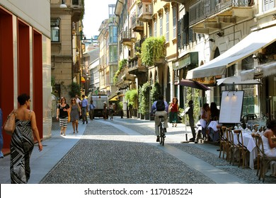 MILAN, ITALY - JULY 30, 2018: Typical street in neighborhood Brera in Milan, Italy