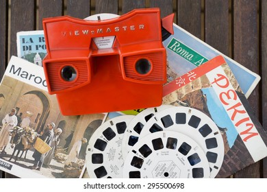 MILAN, ITALY - JULY 5, 2015: view-master vintage 3d viewer toy has introduced to the wonder of 3D generations of kids for over 75 years