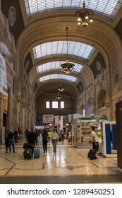 Milan, Italy - July 9 2017: The Central train station of Milan.