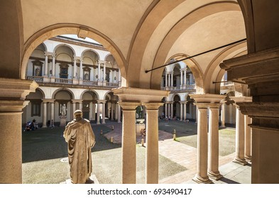 Milan, Italy - July16 , 2016: Courtyard of the Brera Palace in Milan, Italy