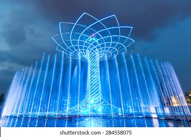 MILAN, ITALY - JUNE 01, 2015: The tree of life (Albero della vita in Italian) during night water-play show. The tree of life is the symbol of Expo 2015 area.