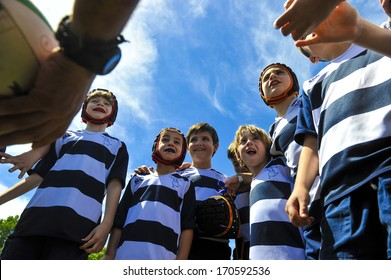 """MILAN, ITALY - JUNE 02: children rugby team during """"Rugby in the park"""", in Milan, June 02, 2013. Pubblic event to let children approach this sport."""